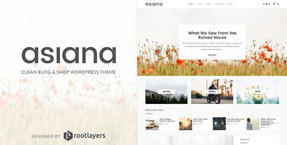 Asiana — Clean Blog & Shop WordPress Theme